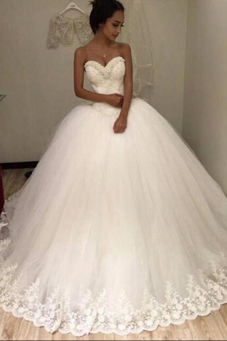 Charming Tulle Appliques Ball Gown Wedding Dress, Sweetheart Bridal Dresss CF763