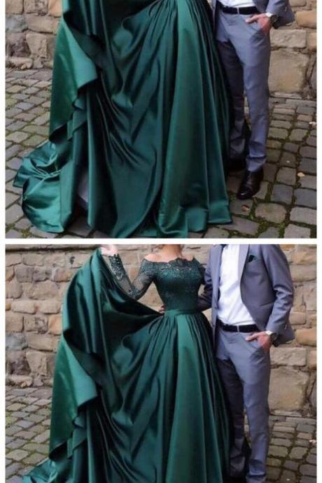 Charming Prom Dress, Long Sleeve Evening Dress, Appliques Prom Dresses CF786