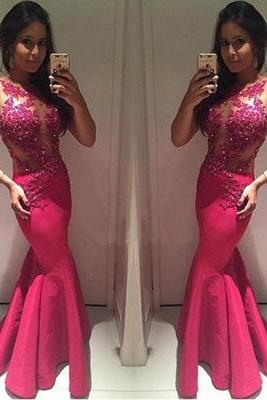 Charming Prom Dress, Appliques Mermaid Prom Dresses, Long Mermaid Evening Dress, Formal Gown CF837