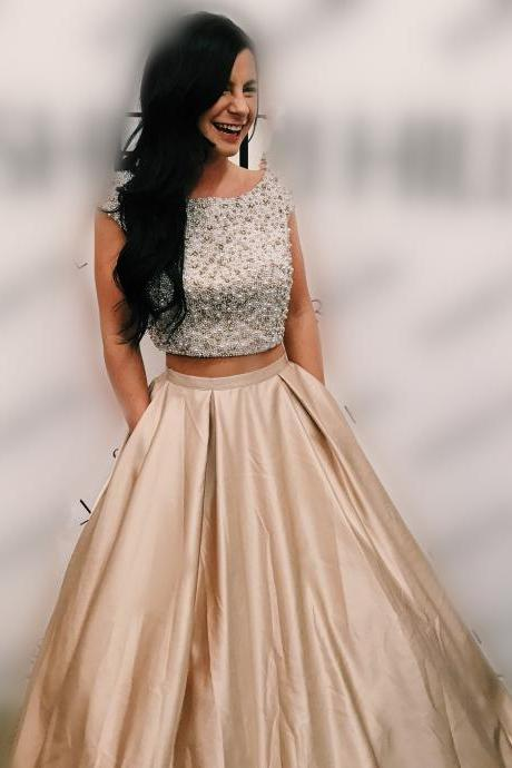 Princess Two Piece Prom Dress, Elegant Beaded Prom Dresses, Long Homecoming Dress for Teens CF933