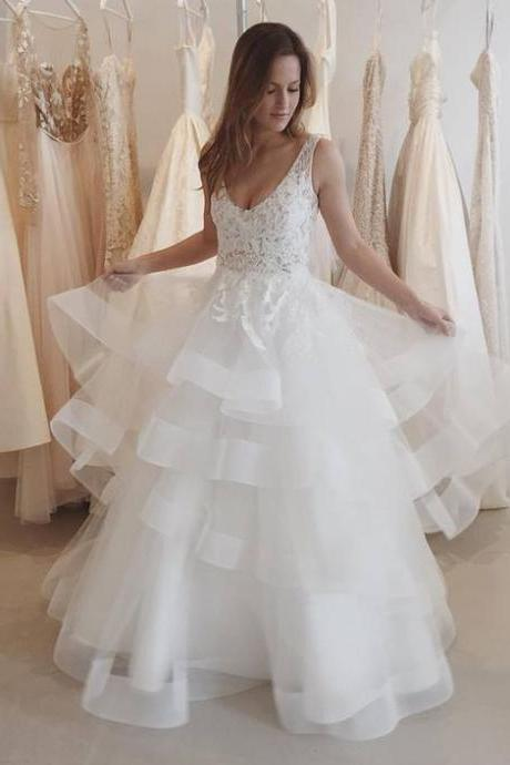 Appliques Tulle Open Back Wedding Dress, 2018 Ruffles White Wedding Dress, Sexy Bridal Dresses CF953
