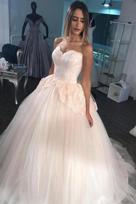 2018 Sweetheart Appliques Ball Gown Wedding Dress, Sexy Tulle Bridal Dresses CF967
