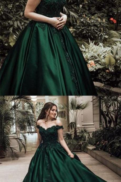 2018 Appliques Prom Dress, Long Prom Dresses, Elegant Evening Dress, Off Shoulder Prom Dresses CF1112