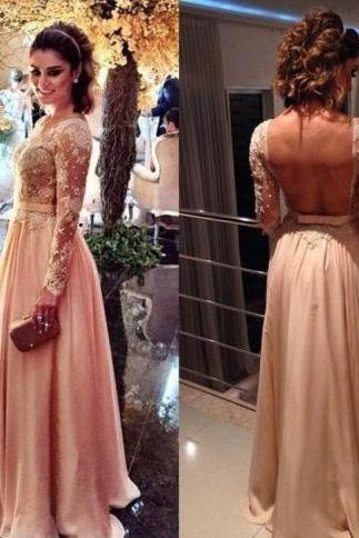 Princess Backless Appliques Prom Dress, Long Prom Dresses, Sexy Long Sleeve Evening Dress CF1119