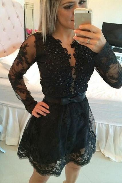 Princess Long Sleeve Short Prom Dress, Black Lace Prom Gowns, Prom Dresses CF1129