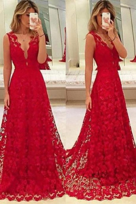 Princess Lace Appliques Prom Dress, Long Prom Dresses, Sexy Long Evening Dress CF1131