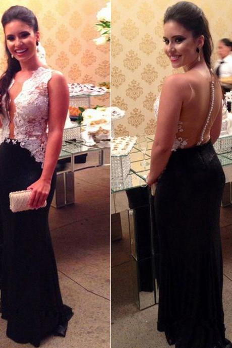 Charming See Though Back Appliques Prom Dress, Long Prom Dresses, Sexy Mermaid Evening Dress CF1138