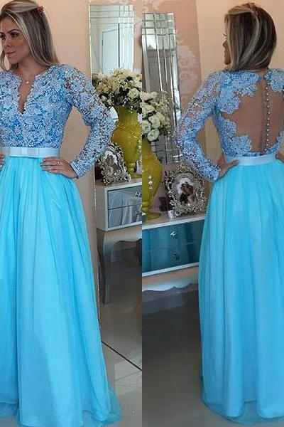 Elegant Light Blue Appliques Prom Dress, Long Prom Dresses with Pearls, Long Sleeve Evening Dress, Women Dress CF1139