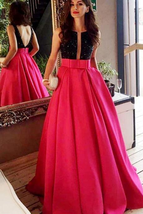 Charming Evening Dress, Long Prom Dresses with Beaded, Sexy Backless Evening Dress CF1171