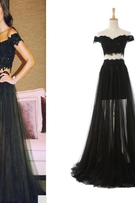 Charming Black Prom Dress, Tulle Two Piece Prom Dresses, Appliques Evening Party Dress CF1189