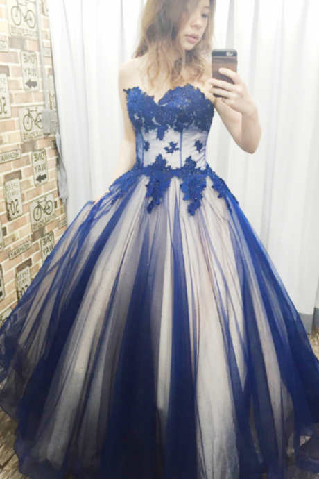 Charming Blue Appliques Prom Dress, Sweetheart Tulle Ball Gowns, Sleeveless Quinceanera Dresses CF1191