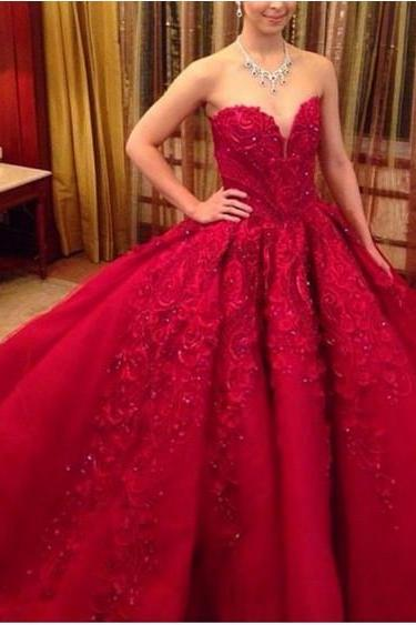 Luxury Princess Red Wedding Dresses 2018 New Ball Gown Beaded Crystal Appliques Long Train Wedding Bridal Gown CF1263