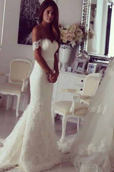 Gergeous Off Shoulder Wedding Dress, Sexy White Mermaid Wedding Dresses Bridal Gowns CF1328