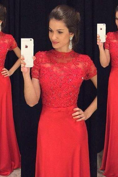 Gergeous Red Appliques Prom Dress, Short Sleeve Prom Dresses with Crystal, Long Evening Dress CF1346