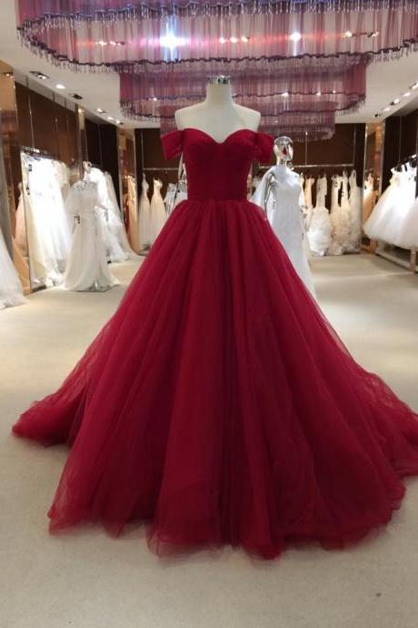 Off Shoulder Tulle Wedding Dress, Wine Red Wedding Dresses Bridal Gowns CF1348