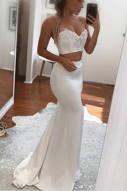 Two Piece Prom Dress, Sexy White Prom Dresses, Long Evening Dress CF1384