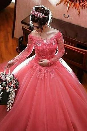 Gergeous Appliques Quinceanera Dress, Long Sleeve Tulle Ball Gowns Prom Dresses, Elegant Quinceanera Dresses CF1393