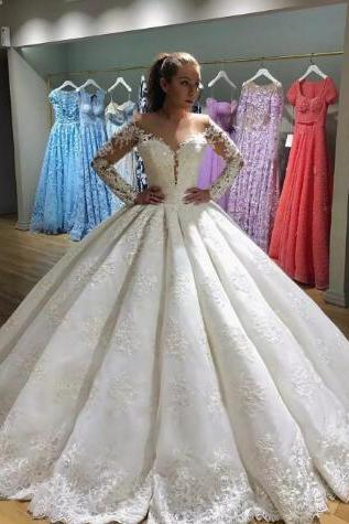 2018 Appliques Long Sleeve Tulle Wedding Dress, Sexy Ball Gown Wedding Dresses