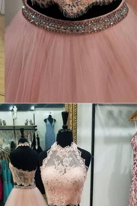 Sexy Sleeveless Prom Dress, Two Piece Appliques Prom Dresses, Long Evening Dress