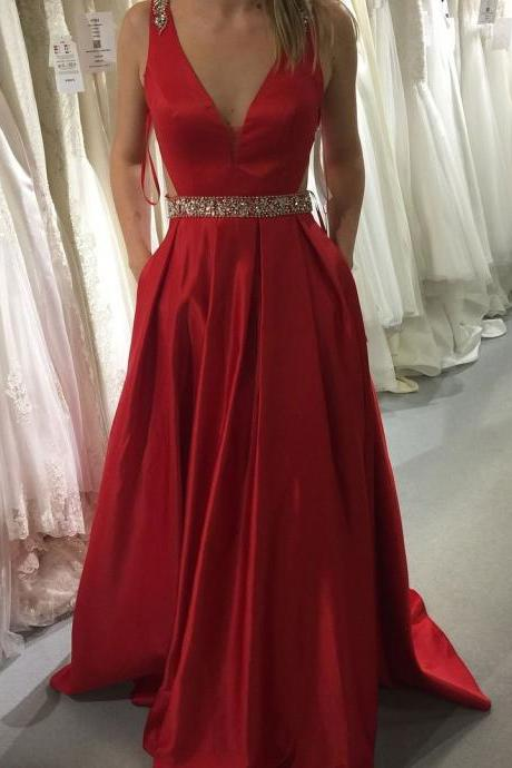 V Neck A Line Red Prom Dress, Sexy Sleeveless Prom Dresses, Long Evening Dress