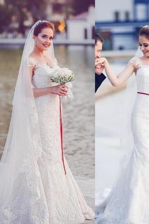 Charming Appliques Tulle White Mermaid Wedding Dresses, Sexy Bridal Dresses