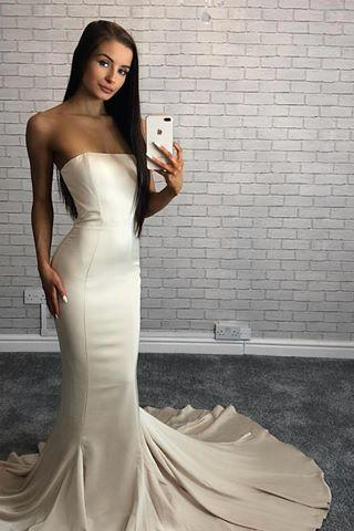Sexy Sleeveless Strapless Mermaid Evening Dress, Formal Long Prom Dresses