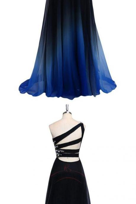 Elegant Sleeveless Prom Dress, One Shoulder Gradient Color Chiffon Prom Dresses, Long Evening Dress