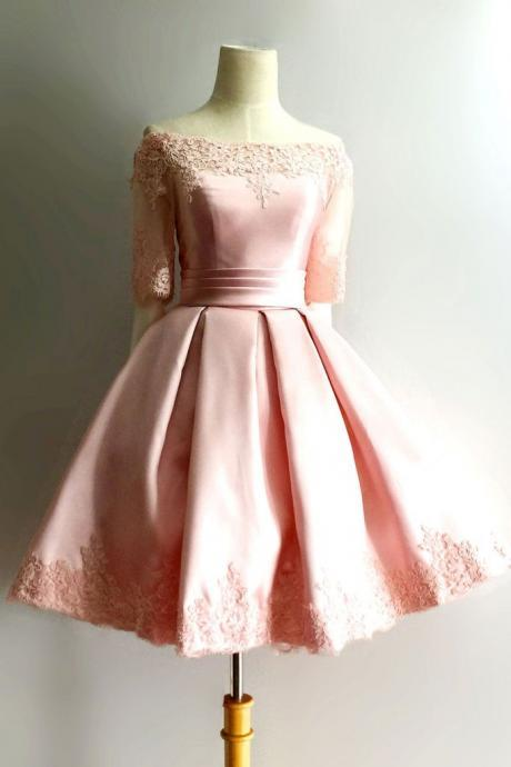 Half Sleeve Prom Dress, Pink Short Prom Dresses, Elegant Homecoming Dress