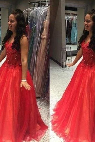 Sexy Sleeveless Prom Dress, Appliques Red Prom Dresses, Long Evening Dress
