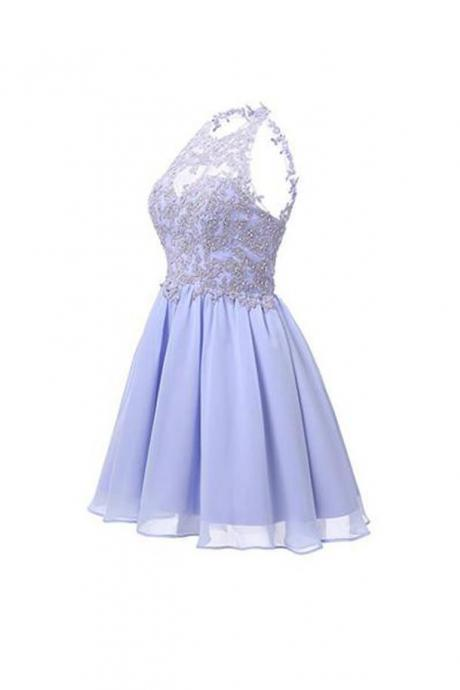 Sexy Sleeveless Prom Dress, Appliques Lavender Tulle Prom Dresses, Short Homecoming Dress