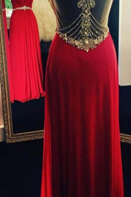 Sexy Sleeveless Prom Dress, A Line Red Prom Dresses, Long Evening Dress