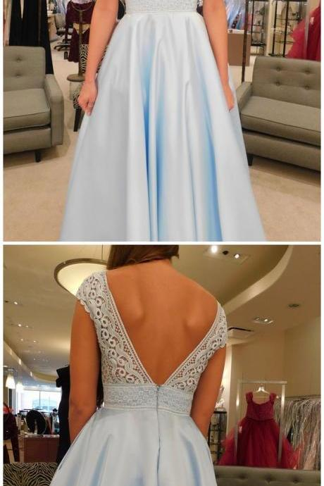 Sexy Cap Sleeve Prom Dress, V Neck Backless Prom Dresses, Long Evening Dress