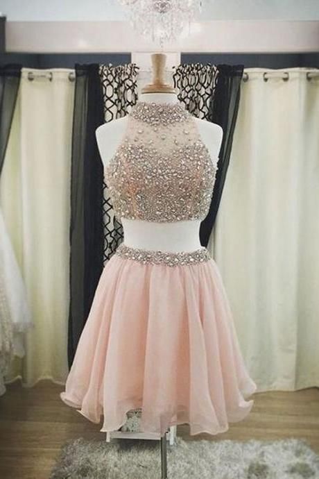 Elegant Two Piece Prom Dress, Tulle Prom Dresses, Short Prom Gown, Homecoming Dress