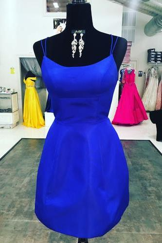 Sexy Satin Prom Dress, Backless Short Prom Dresses, Royal Blue Prom Gowns