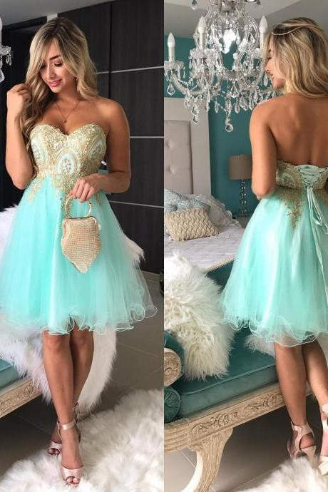 Tulle Short Prom Dress, Appliques Short Homecoming Dress, Sexy Party Dress