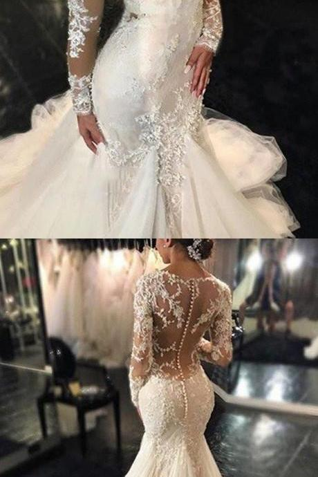 Long Sleeve White Tulle Wedding Dresses, Sexy See Though Back Mermaid Wedding Gown, Bridal Dresses