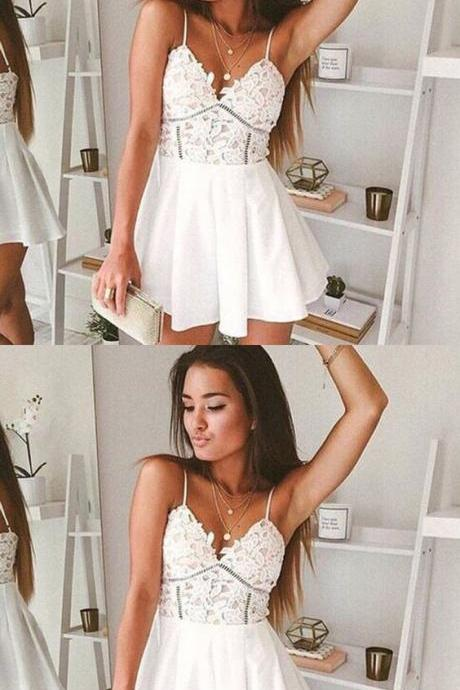Cute Prom Dress, Sexy Party Dress, Lace Mini Party Gowns