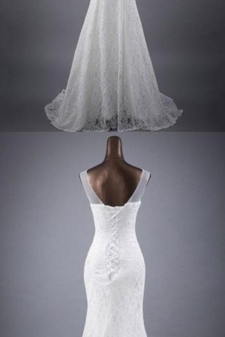 Sleeveless Sheer Lace Appliqués Mermaid Wedding Dress with Lace-Up Back