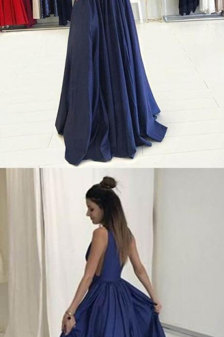 Charming Deep V Neck Prom Dress, Sleeveless A Line Prom Dresses, Long Evening Party Dress