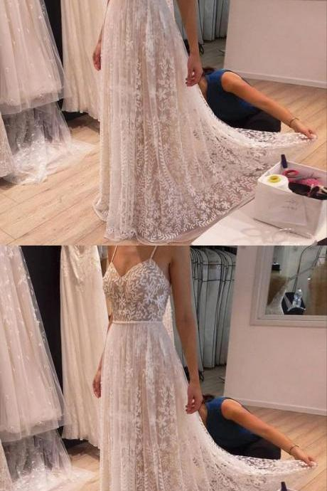 Charming Prom Dress, Sexy Spaghetti Straps Lace Prom Dresses, Long Evening Party Dress
