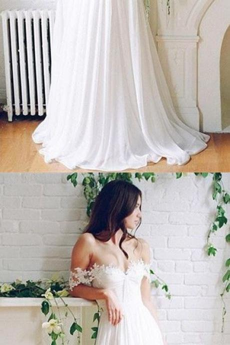 Charming Prom Dress, Sexy Off Shoulder Prom Dresses, Long White Party Dress