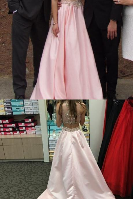 Charming Prom Dress, Sleeveless Two Piece Prom Dresses, Beaded Evening Party Dress