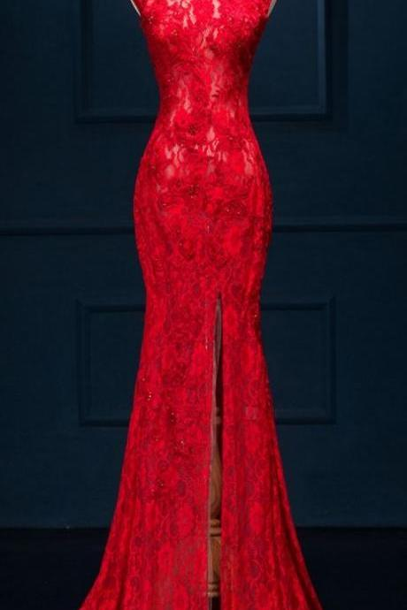 Charming Prom Dress, Sleeveless Red Appliques Mermaid Prom Dresses with Slit, Formal Evening Party Dress