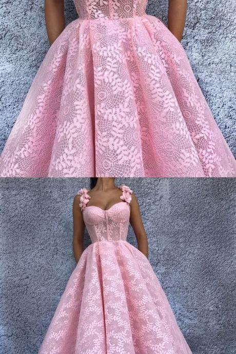 Charming Prom Dress, Elegant Pink Lace Prom Dresses, Sexy Evening Party Dress