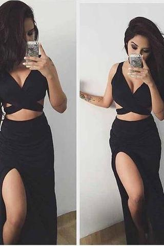 Charming Prom Dress, Sleeveless Black Prom Dresses, Sexy Evening Party Dress