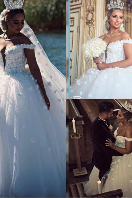 Charming Wedding Dress, Sexy Off Shoulder Tulle Ball Gown Wedding Dresses Bridal Dress