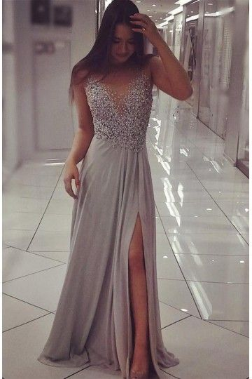 Charming Prom Dress, Sexy Grey Chiffon Evening Dress, Split Slit Long Prom Dresses, Evening Party Dress