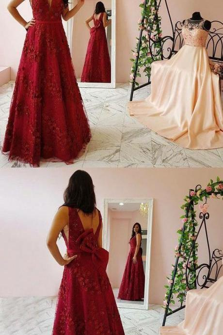 Charming Appliques A Line Formal Prom Dress, Elegant Tulle Floor Length Evening Gown