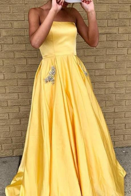 Yellow Strapless Floor Length A Line Prom Dress with Pocket Long Evening Dress