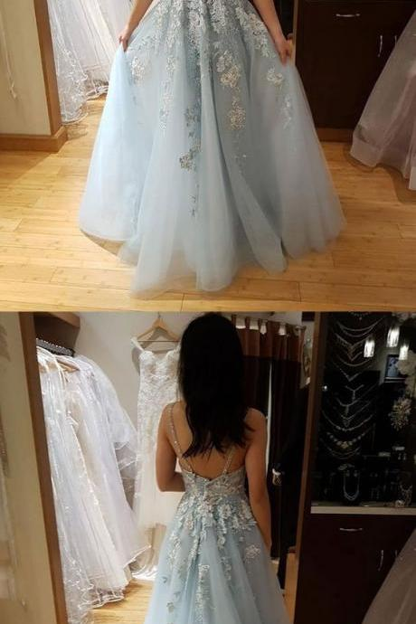 Charming Prom Dress, Sexy V neck Tulle Appliques Homecoming Dress, Vintage Long Prom Dresses